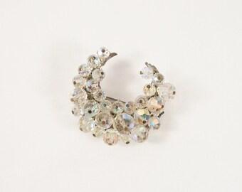 Moon Shaped Crystal Bead 50s Brooch Vintage Jewelry