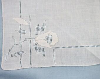 Vintage 60s Applique Rose Bud Linen Hankie Handkerchief