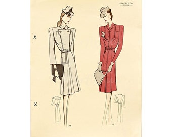 Original Vintage 1940's Fashion Print ,Smart Day Wear, Fall 1939 / 1940, Pre WW2, Catalogue Print Perfection Robes,Fashion Reference