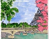 Pink Trees along the Seine