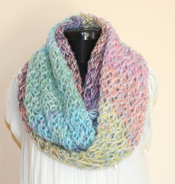 Fantasy Multicolor Angora Mohair Blend Large Loop SCARF- Ready to Ship