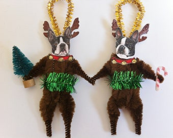 Boston Terrier REINDEER Christmas vintage style CHENILLE ORNAMENTS set of 2 feather tree