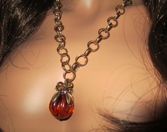 Recycled/Upcycled Napier Vintage Costume Lucite, Glass & Brass Wire Wrapped Pendant Necklace