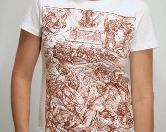 Albrecht Durer Battle of Angels Women's T-Shirt, gothic shirt, medieval art, woodcut, gift for artists, birthday gift