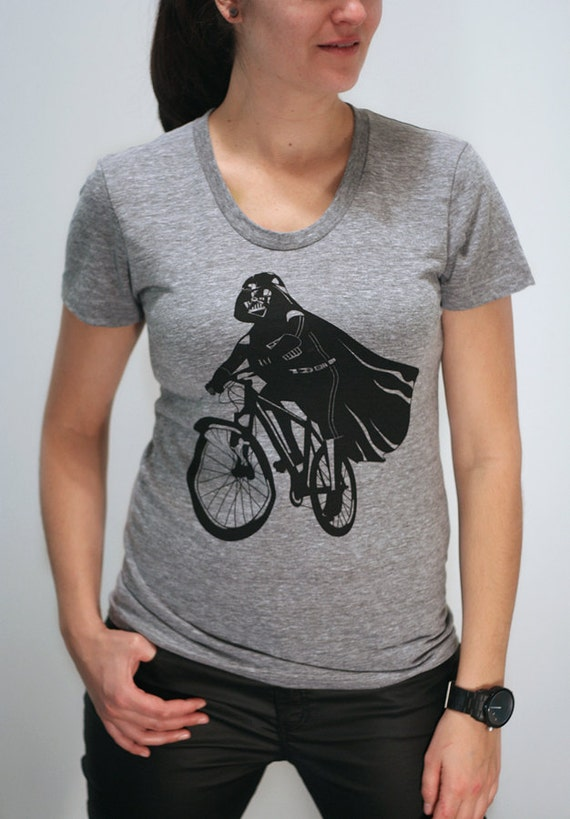 Darth Vader is Riding It - American Apparel Womens t shirt printed with ECO ink (  Star wars / Darth Vader bike t shirt )