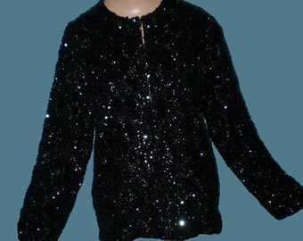 Vintage 60s Black Sequined Cardigan Sweater M