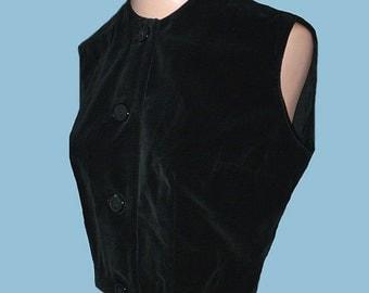 Vintage 50s 60s Black Velvet Vest S