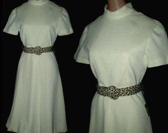 Vintage 60s Creamy Vanilla Mod Dress NOS S