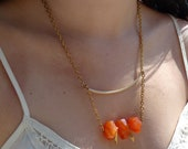 Raw Orange Chalcedony Gemstone & Vintage Brass Statement Necklace, Simple, Classic, Modern, Bohemian