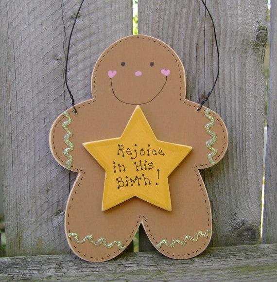 DOLLAR DAYS CLOSEOUTOff Rejoicing Gingerbread Man Christian/Inspirational Christmas Ornament