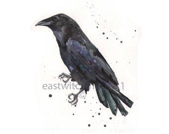 RAVEN Art Print 8x10, raven paintings