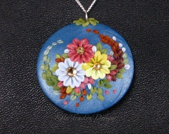Yellow Damask Bouquet Necklace, Polymer Clay