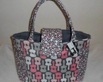 Large Groovy Guitars Bloom Diaper Bag Tote CHOICE OF INTERIOR