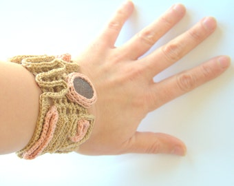 Textile Crochet bracelet with brown sea glass Valentine gift for her Beige pink cuff bangle  handmade Mum summer pastel
