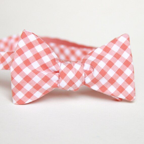 peach gingham mens bow tie