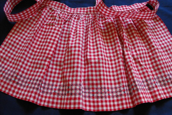 Vintage Apron Red White Gingham Cotton with Cross Stitch