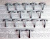 16 vintage mid century curvy T-shape painted gray metal handles includes hardware