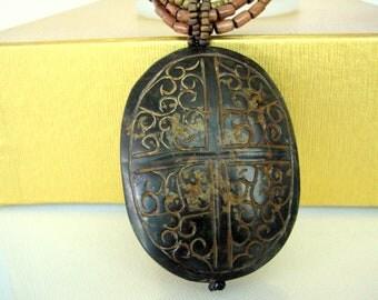 SALE ! Necklace- Wood Adornment Pendant- Antique - Oval Wood Adornment- Gift idea
