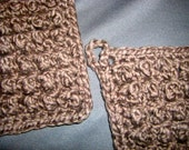 Walnut Brown Two Deluxe Organic Cotton Bumpy Washcloths