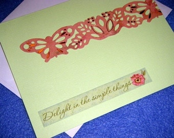 Delight in the Simple Things blank card butterfly flower