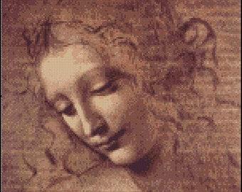 Leonardo da Vinci FEMALE HEAD cross stitch pattern No.724