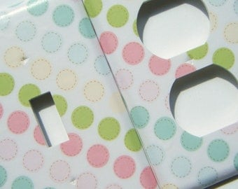 Switchplate Light Switch Cover Outlet Cover -- Pastel Polka Dots