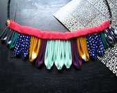 SALE The Artemis Kanzashi Folded Fabric Necklace VII in Aqua, Mustard, Navy, Grey, Pink, Magenta, Teal