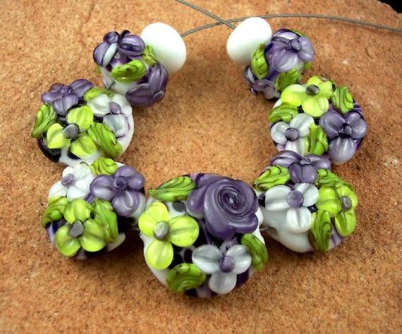 Lampwork Glass Beads, Lavender Rose Garden SRA 368 by CC Design