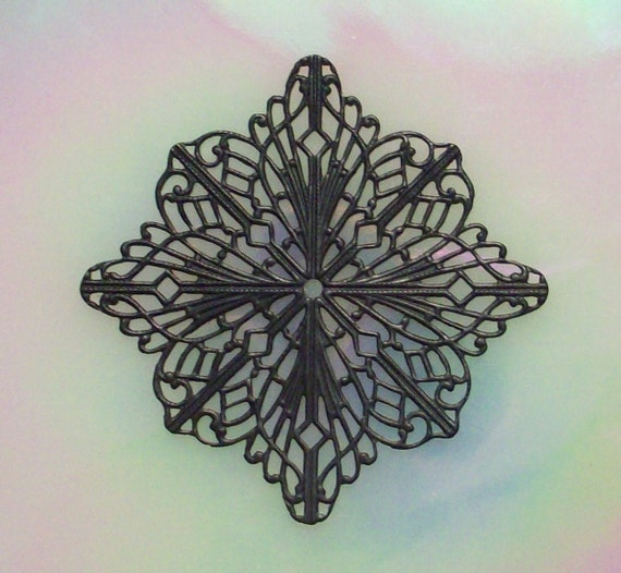 2 Large Black Brass Square Filigree Stamping For Stone Wrapping Etc See Example Pics I Have Persoanlly Used These For