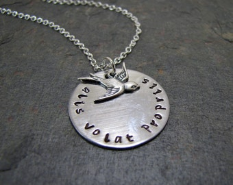 Alis Volat Propriis Necklace, Inspirational Jewelry, Hand Stamped, She Flies With Her Own Wings