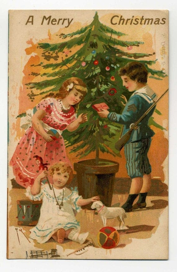 Vintage A Merry Christmas Postcard - Decorated Christmas Tree