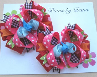 Set of 2 M2MG Winter Cheer Toddler Hair Bows