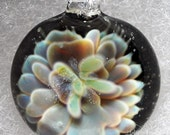 "Borosilicate Glass Pendant - ""Silver Flower' Series"