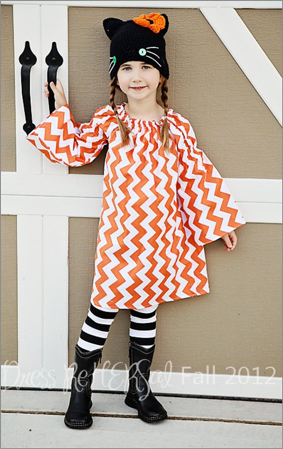 Orange and White Chevron zig zag peasant dress with bell sleeve 12 18 24 2 3 4 5 6 7 8 Perfect for Halloween