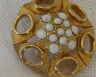 VINTAGE White Glass Pierced Gold Metal Button