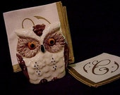 Kitschy Ceramic OWL Napkin or Letter Holder - Realistically Painted with Embossed Details - Looking for a New Nest - (EPSteam Vintage)
