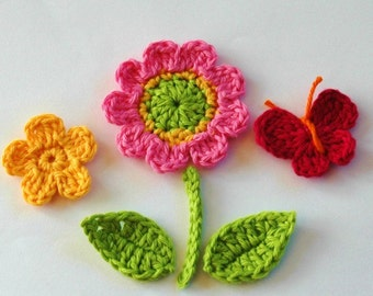 Crochet Flowers with leaves - stem - butterfly - Crochet Garden