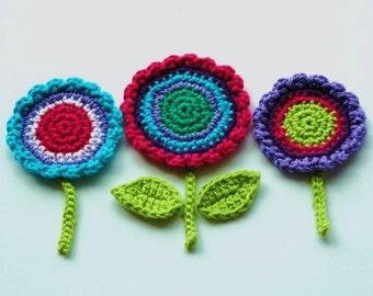 Crochet Flower Motifs  -  Purple, Turquoise, Pink