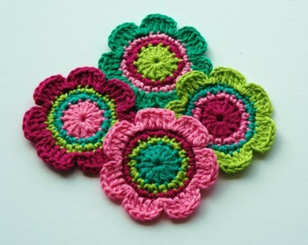 Crochet Applique Flower Motifs - Wine and Lime