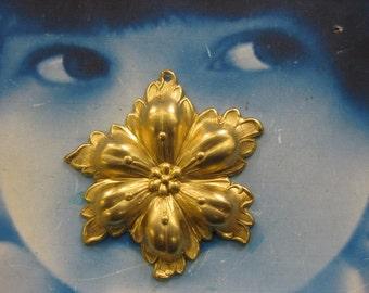 Raw Brass Flower Stampings 2163RAW x2