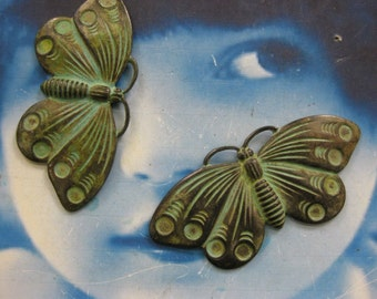 Verdigris Patina  Butterfly Stamping Pendant  Bent with holes or Straight 2169VER x2
