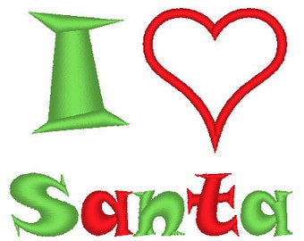 I Love Santa Machine Embroidery Design 009