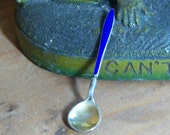 Sterling Silver Salt Spoon Cobalt Blue Enamel