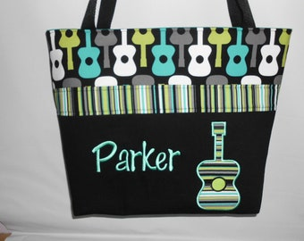 Groovy GUITARS  .. Lagoon .. DIAPER Bag .. Applique  ... Personalized Free