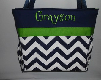 CHEVRON  in NAVY  .. Green Accents  ...   Diaper Bag ... Bottle Pockets ... Monogrammed  FReE
