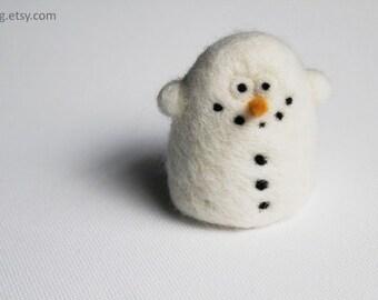 Snowman Tree Ornament  Needle Felt Christmas Plushie
