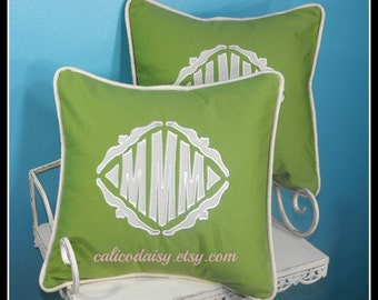 SET OF 2 - The Veronique Applique Monogrammed Pillow Cover - 18 x 18 square