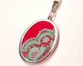 Red and teal lace pendant necklace. Red cotton and hand dyed vintage lace pendant on silver plated cable chain. Gifts under 20.