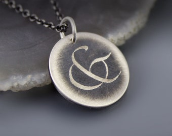 Etched Sterling Silver Ampersand Necklace, handwritten symbol, unity, together