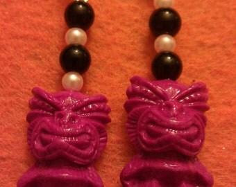 Tiki earrings, pink, pink tiki, tiki culture, hawaii, tiki, polynesian, tiki wedding, ocean, pin up, tropical, beach wedding, pink earrings